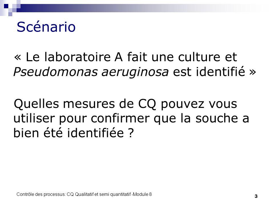 Contrôle des processus: CQ Qualitatif et semi quantitatif -Module 8 3 Scénario « Le laboratoire A fait une culture et Pseudomonas aeruginosa est identifié » Quelles mesures de CQ pouvez vous utiliser pour confirmer que la souche a bien été identifiée ?
