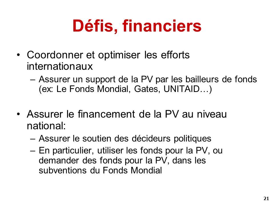 21 Défis, financiers Coordonner et optimiser les efforts internationaux –Assurer un support de la PV par les bailleurs de fonds (ex: Le Fonds Mondial,