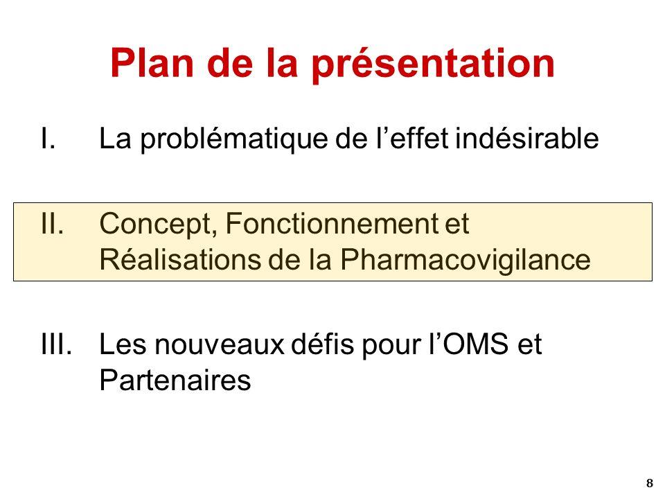 8 Plan de la présentation I.La problématique de leffet indésirable II.Concept, Fonctionnement et Réalisations de la Pharmacovigilance III.Les nouveaux