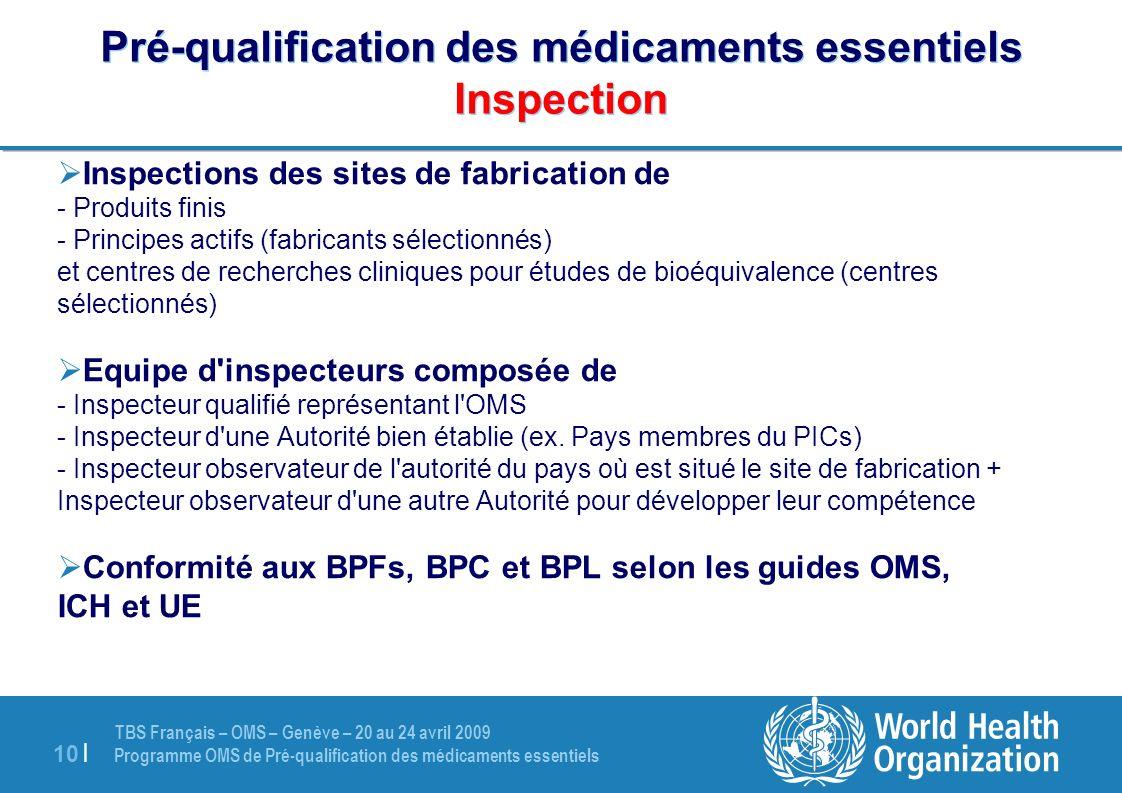 TBS Français – OMS – Genève – 20 au 24 avril 2009 Programme OMS de Pré-qualification des médicaments essentiels 10 | Pré-qualification des médicaments