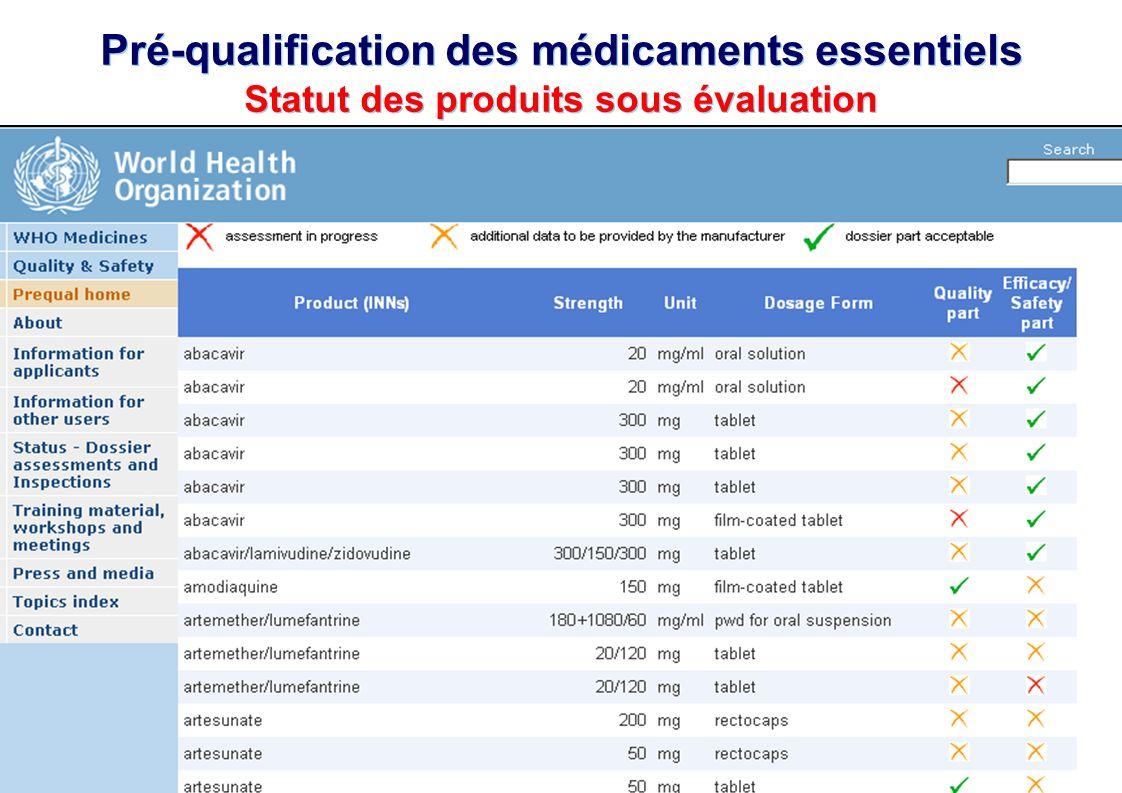 TBS Français – OMS – Genève – 20 au 24 avril 2009 Programme OMS de Pré-qualification des médicaments essentiels 17   Pré-qualification des médicaments