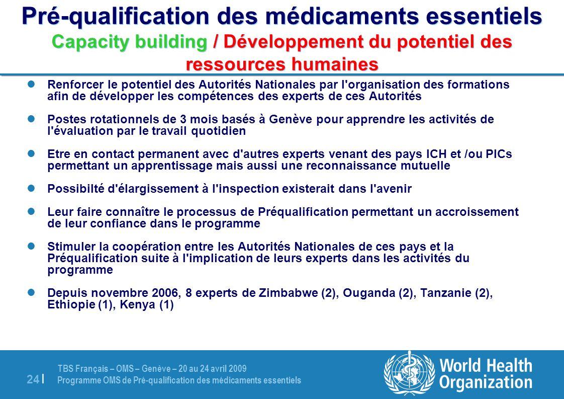 TBS Français – OMS – Genève – 20 au 24 avril 2009 Programme OMS de Pré-qualification des médicaments essentiels 24 | Pré-qualification des médicaments