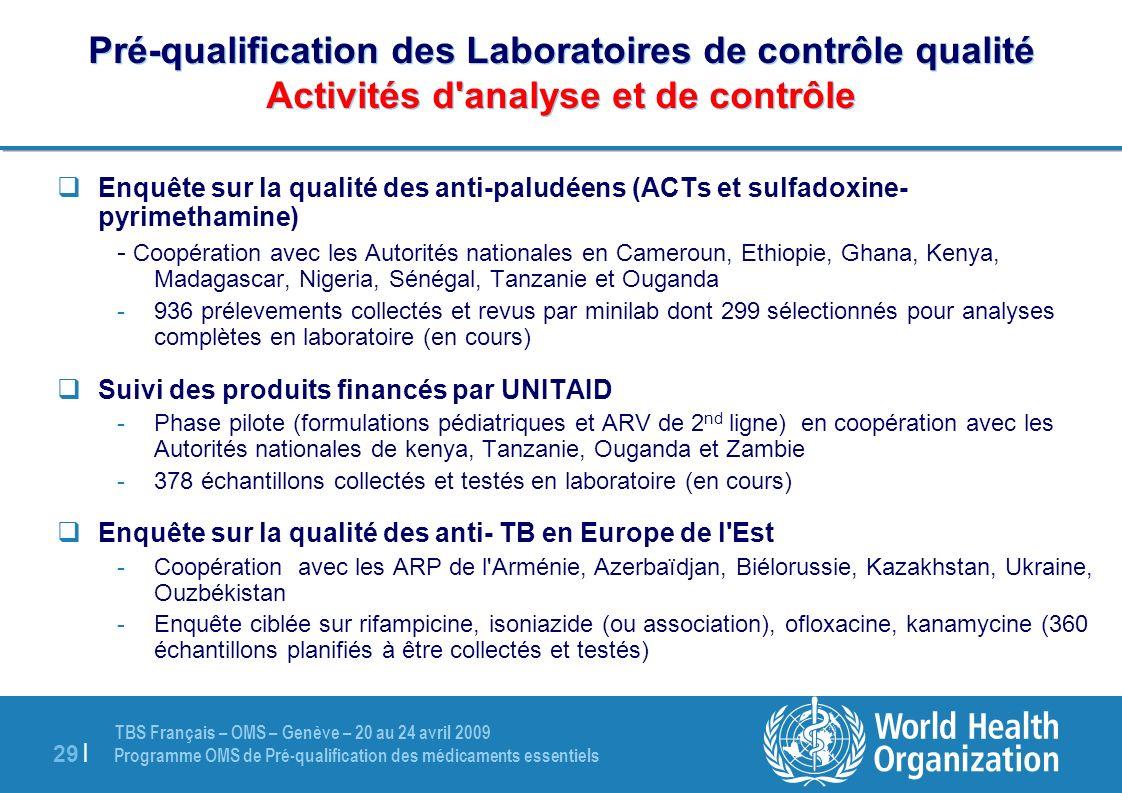 TBS Français – OMS – Genève – 20 au 24 avril 2009 Programme OMS de Pré-qualification des médicaments essentiels 29 | Pré-qualification des Laboratoire