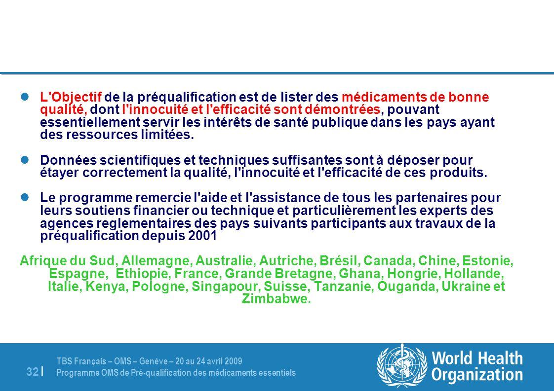 TBS Français – OMS – Genève – 20 au 24 avril 2009 Programme OMS de Pré-qualification des médicaments essentiels 32 | L'Objectif de la préqualification