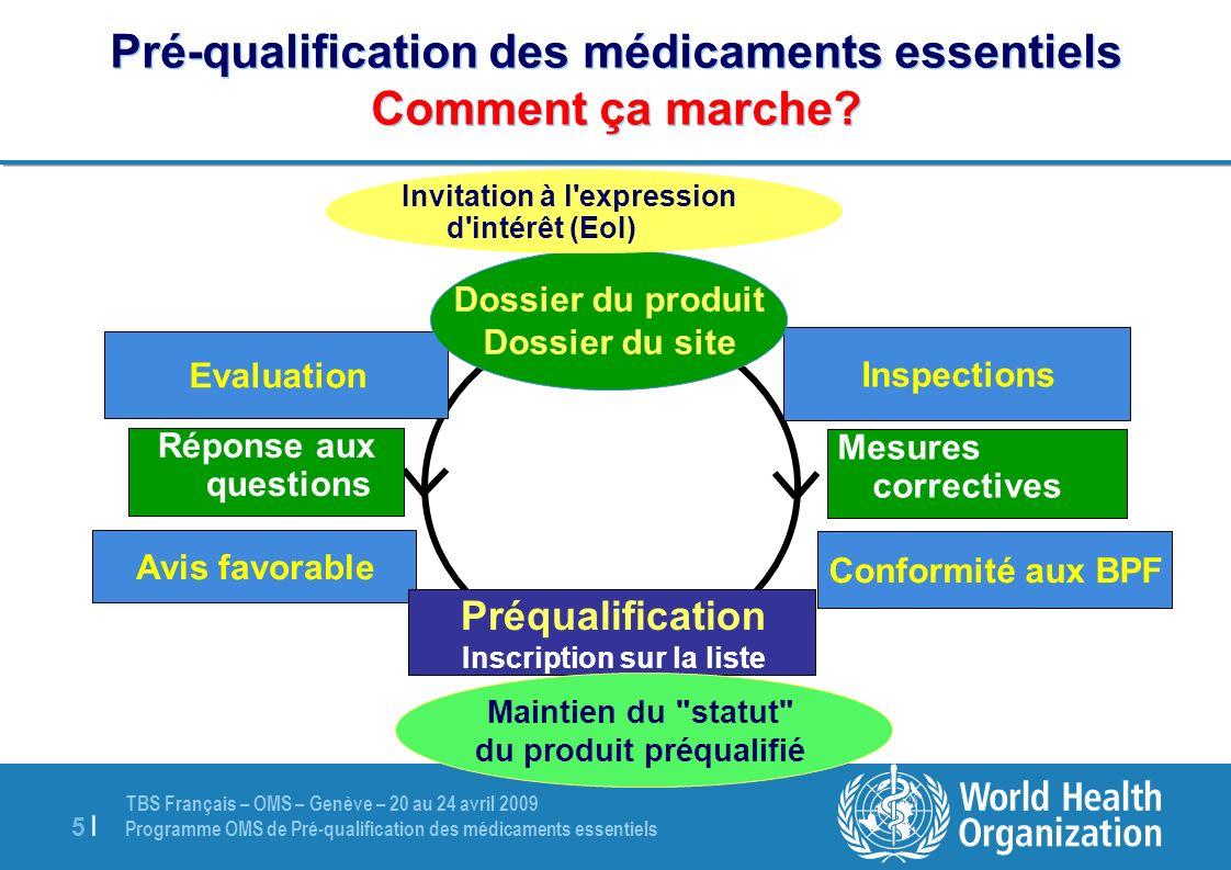 TBS Français – OMS – Genève – 20 au 24 avril 2009 Programme OMS de Pré-qualification des médicaments essentiels 5 |5 | Pré-qualification des médicamen