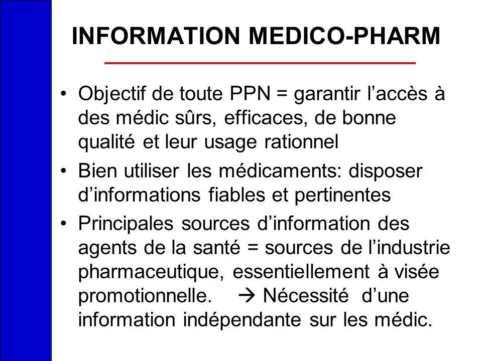 INFORMATION MEDICO-PHARM Objectif de toute PPN = garantir laccès à des médic sûrs, efficaces, de bonne qualité et leur usage rationnel Bien utiliser l