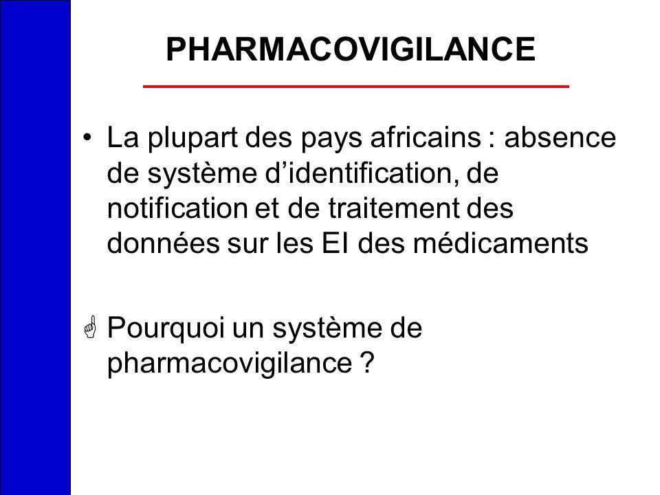 PHARMACOVIGILANCE La plupart des pays africains : absence de système didentification, de notification et de traitement des données sur les EI des médi