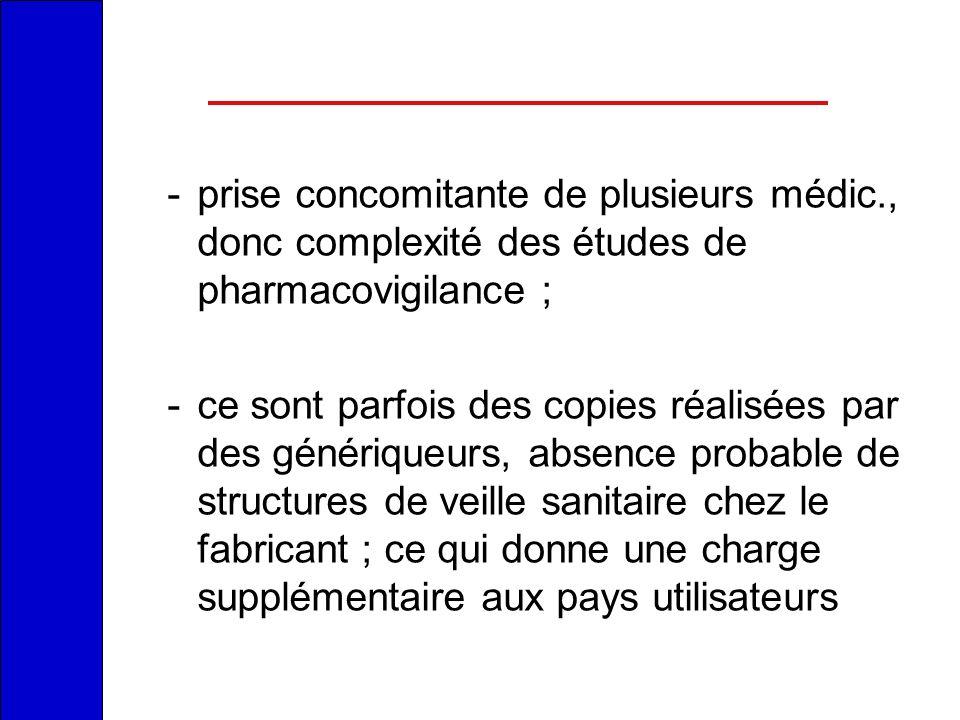 -prise concomitante de plusieurs médic., donc complexité des études de pharmacovigilance ; -ce sont parfois des copies réalisées par des génériqueurs,
