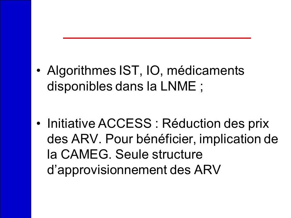 Algorithmes IST, IO, médicaments disponibles dans la LNME ; Initiative ACCESS : Réduction des prix des ARV. Pour bénéficier, implication de la CAMEG.