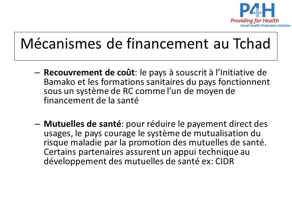 Mécanismes de financement au Tchad – Recouvrement de coût: le pays à souscrit à lInitiative de Bamako et les formations sanitaires du pays fonctionnen