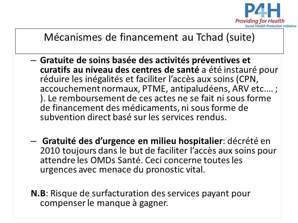 Mécanismes de financement au Tchad (suite) – Gratuite de soins basée des activités préventives et curatifs au niveau des centres de santé a été instau