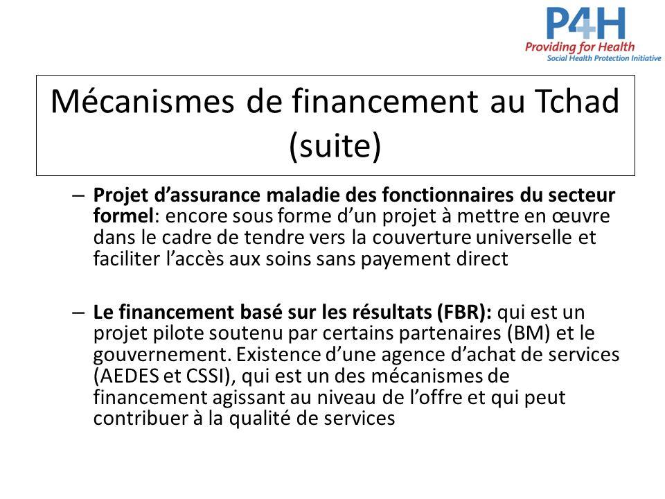 Mécanismes de financement au Tchad (suite) – Projet dassurance maladie des fonctionnaires du secteur formel: encore sous forme dun projet à mettre en