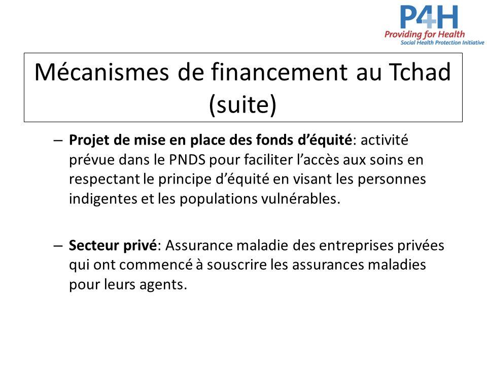 Mécanismes de financement au Tchad (suite) – Projet de mise en place des fonds déquité: activité prévue dans le PNDS pour faciliter laccès aux soins e
