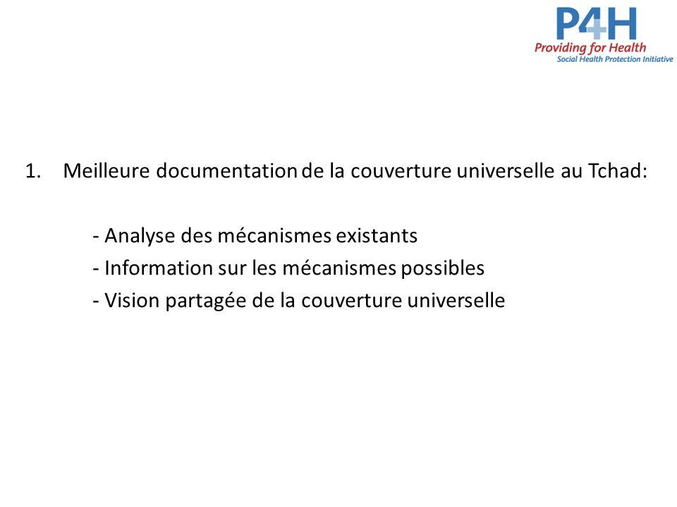 1.Meilleure documentation de la couverture universelle au Tchad: - Analyse des mécanismes existants - Information sur les mécanismes possibles - Visio