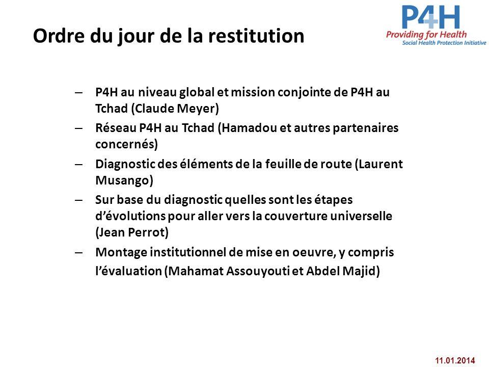 11.01.2014 Ordre du jour de la restitution – P4H au niveau global et mission conjointe de P4H au Tchad (Claude Meyer) – Réseau P4H au Tchad (Hamadou e