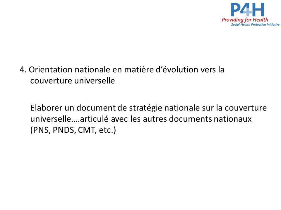 4. Orientation nationale en matière dévolution vers la couverture universelle Elaborer un document de stratégie nationale sur la couverture universell