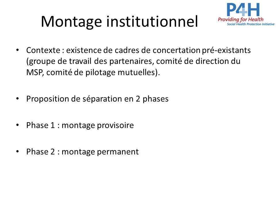 Montage institutionnel Contexte : existence de cadres de concertation pré-existants (groupe de travail des partenaires, comité de direction du MSP, co