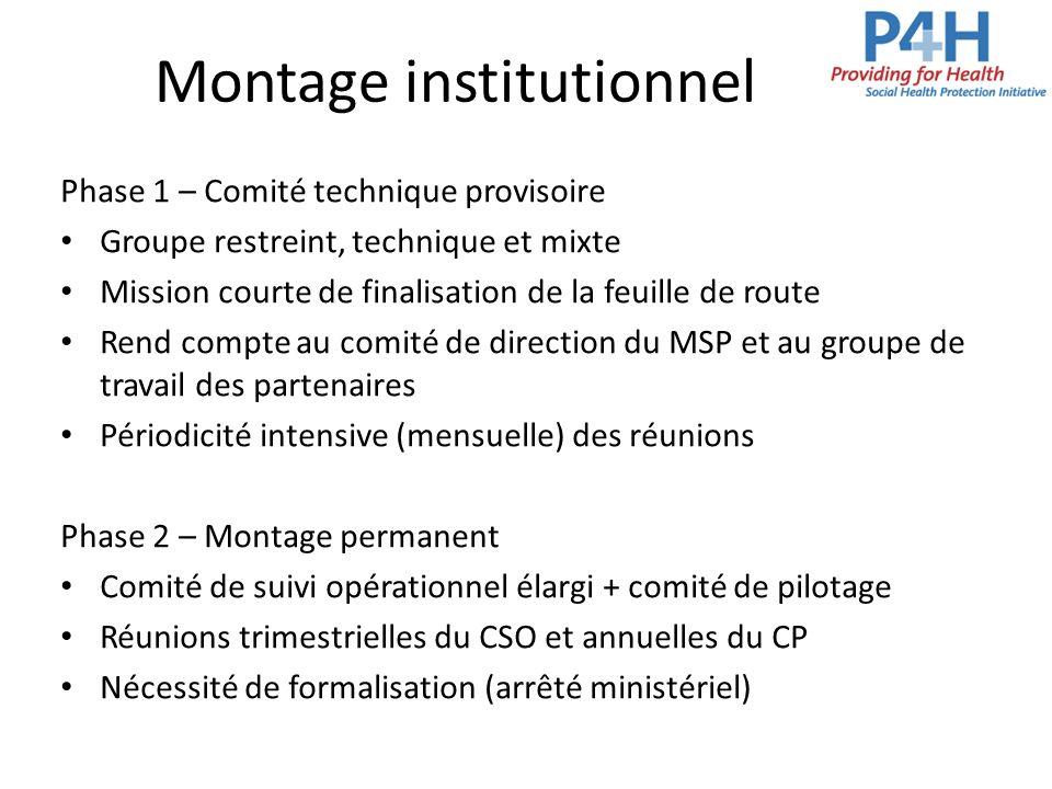 Montage institutionnel Phase 1 – Comité technique provisoire Groupe restreint, technique et mixte Mission courte de finalisation de la feuille de rout