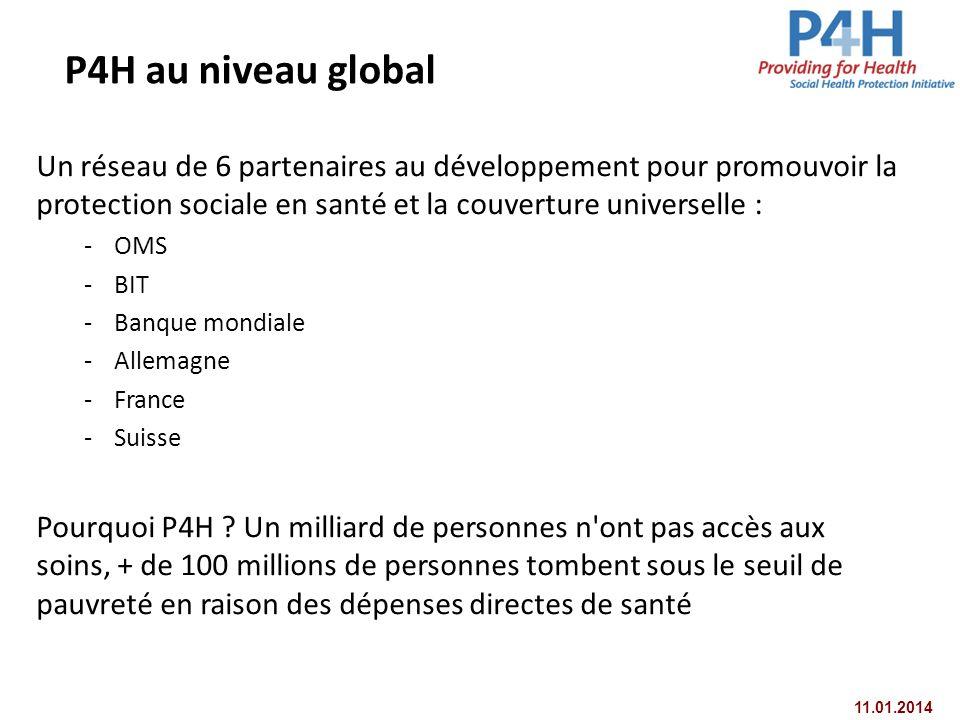11.01.2014 P4H au niveau global Un réseau de 6 partenaires au développement pour promouvoir la protection sociale en santé et la couverture universell