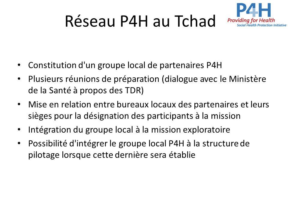 Réseau P4H au Tchad Constitution d'un groupe local de partenaires P4H Plusieurs réunions de préparation (dialogue avec le Ministère de la Santé à prop