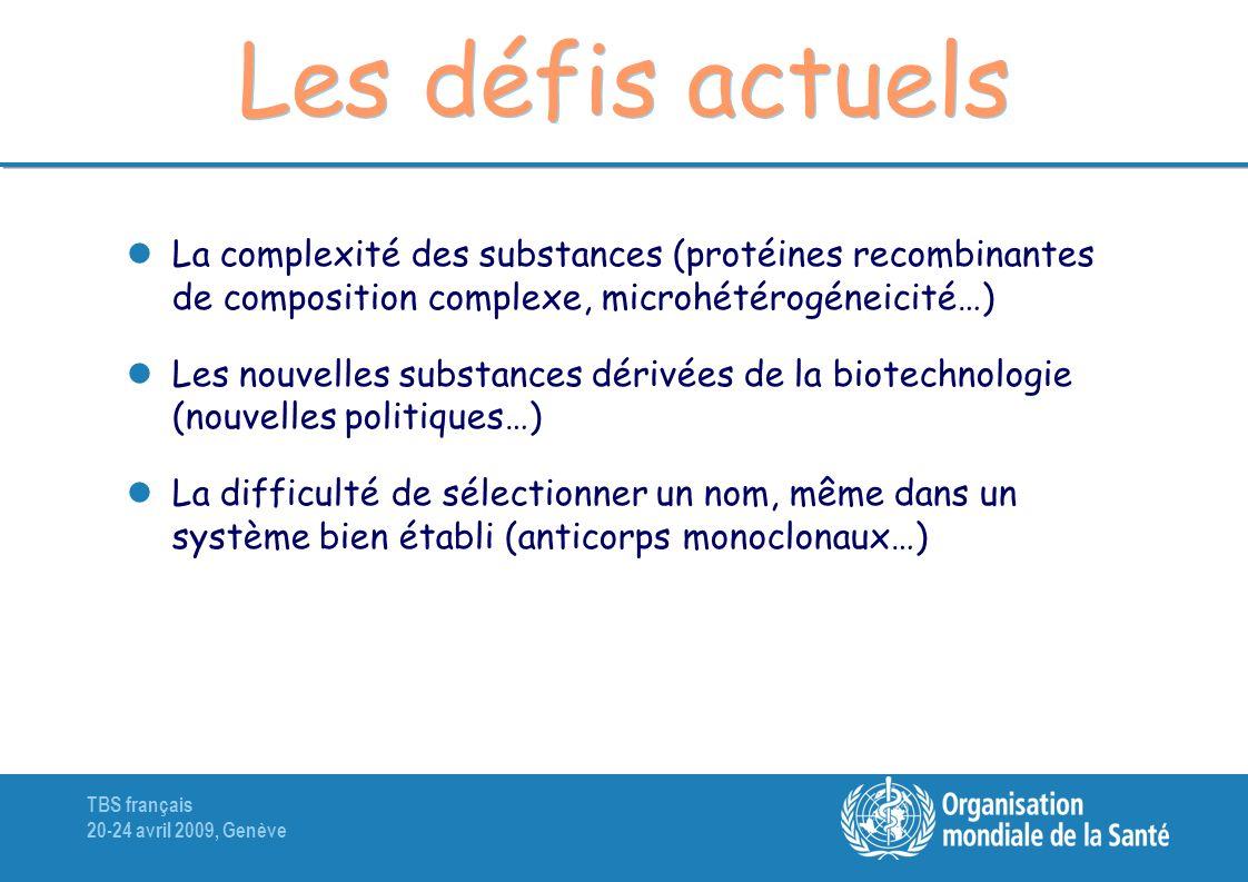 TBS français 20-24 avril 2009, Genève Les défis actuels La complexité des substances (protéines recombinantes de composition complexe, microhétérogéne
