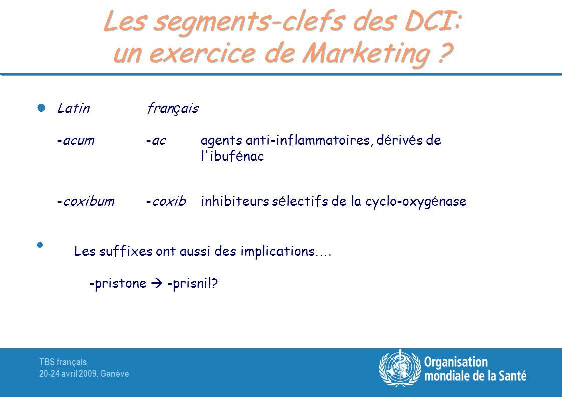 TBS français 20-24 avril 2009, Genève Les segments-clefs des DCI: un exercice de Marketing ? Latinfran ç ais -acum-ac agents anti-inflammatoires, d é
