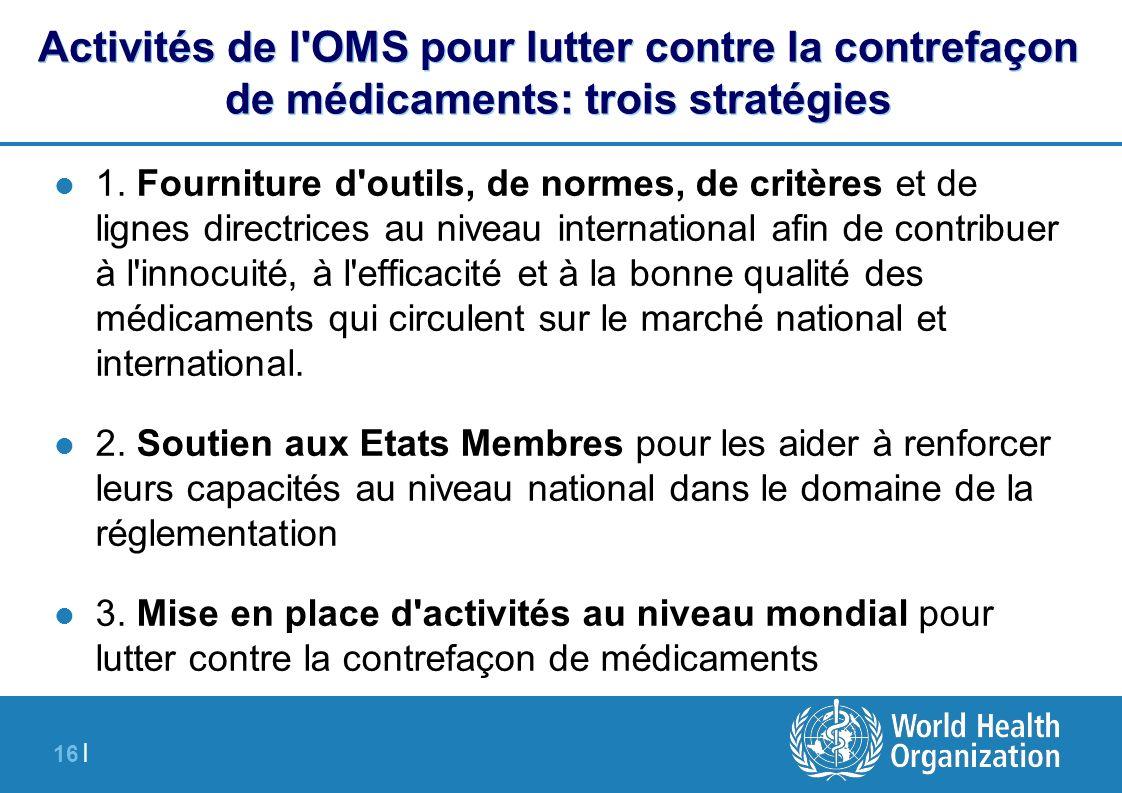 16 | Activités de l'OMS pour lutter contre la contrefaçon de médicaments: trois stratégies 1. Fourniture d'outils, de normes, de critères et de lignes