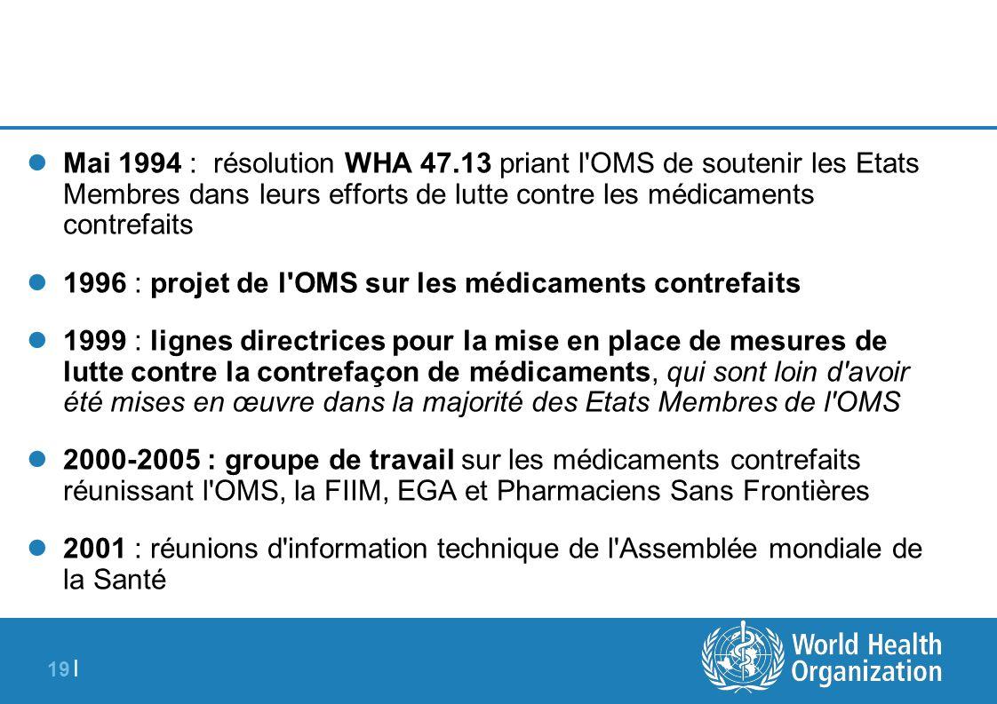19 | Mai 1994 : résolution WHA 47.13 priant l'OMS de soutenir les Etats Membres dans leurs efforts de lutte contre les médicaments contrefaits 1996 :