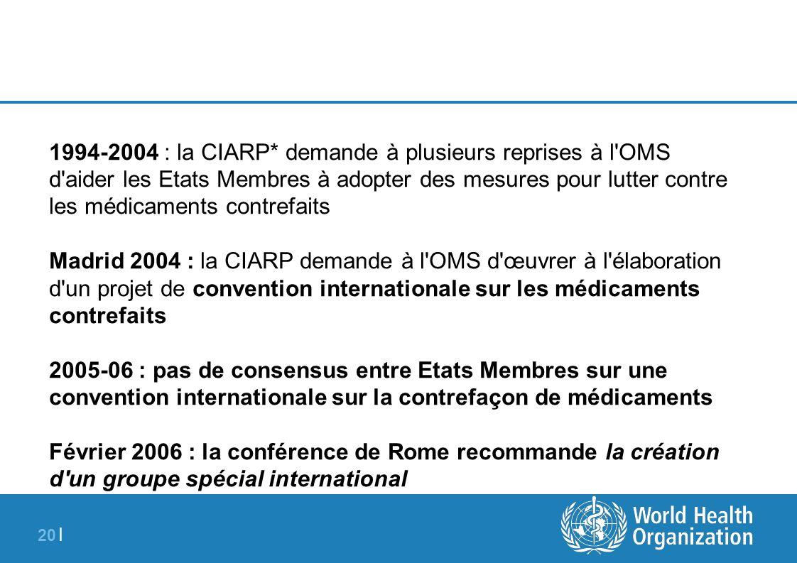 20 | 1994-2004 : la CIARP* demande à plusieurs reprises à l'OMS d'aider les Etats Membres à adopter des mesures pour lutter contre les médicaments con