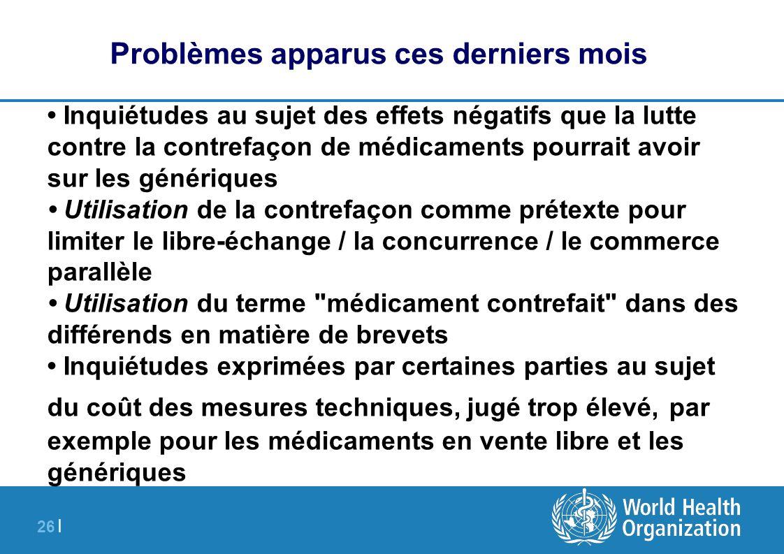 26 | Problèmes apparus ces derniers mois Inquiétudes au sujet des effets négatifs que la lutte contre la contrefaçon de médicaments pourrait avoir sur