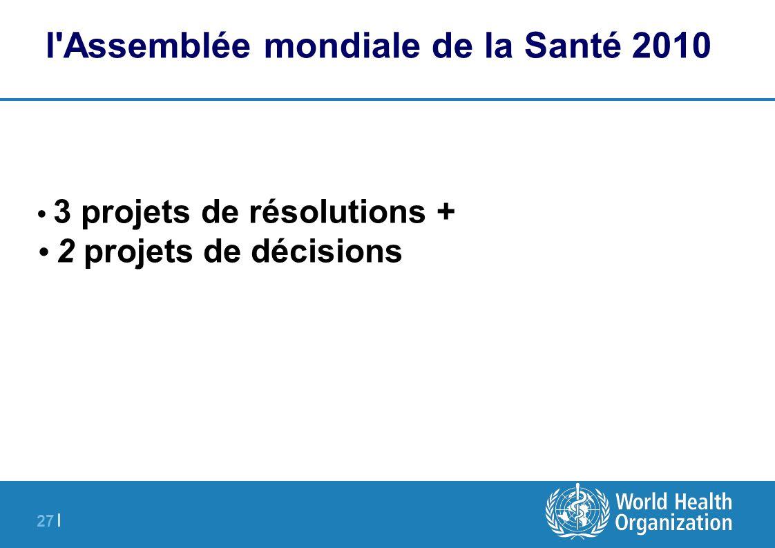 27 | l'Assemblée mondiale de la Santé 2010 3 projets de résolutions + 2 projets de décisions