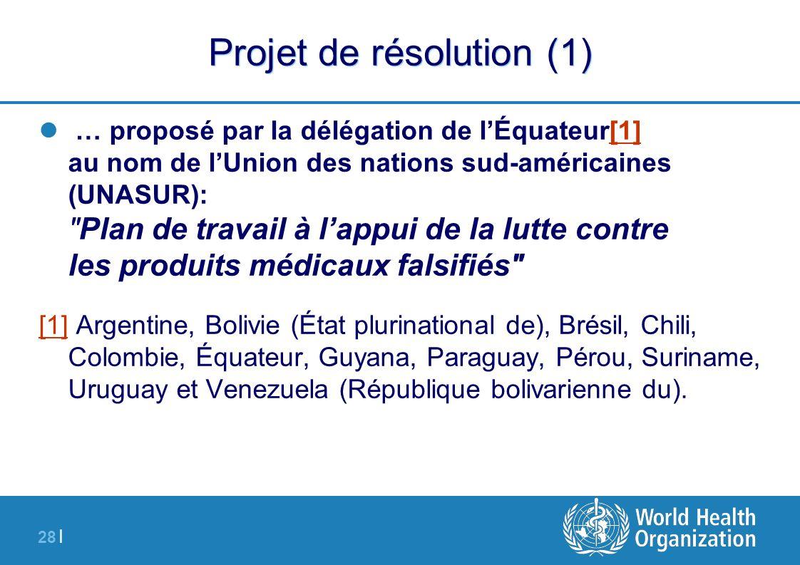 28 | Projet de résolution (1) … proposé par la délégation de lÉquateur[1] au nom de lUnion des nations sud-américaines (UNASUR):