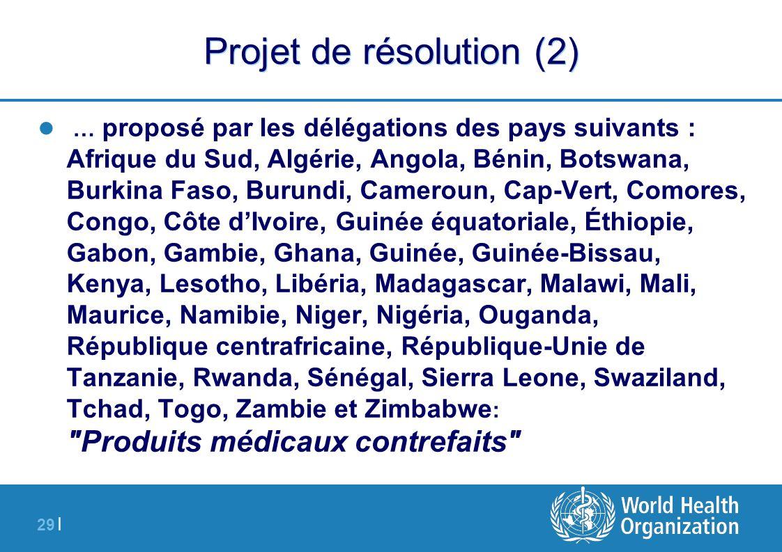 29 | Projet de résolution (2) … proposé par les délégations des pays suivants : Afrique du Sud, Algérie, Angola, Bénin, Botswana, Burkina Faso, Burund
