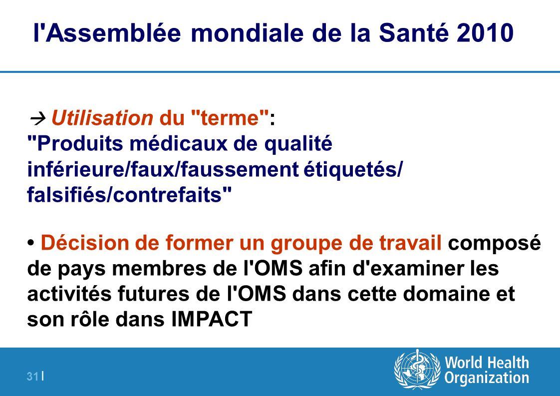 31 | l'Assemblée mondiale de la Santé 2010 Utilisation du