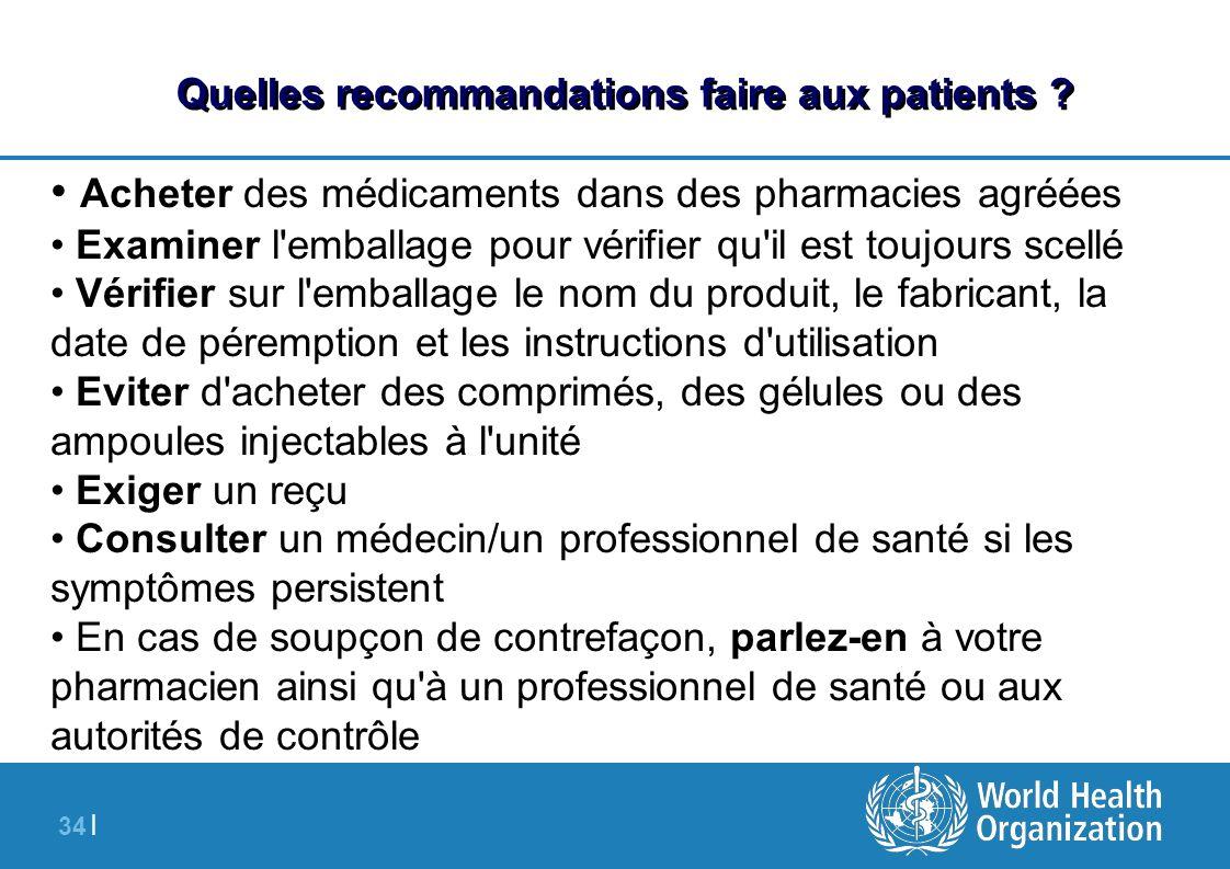 34 | Quelles recommandations faire aux patients ? Acheter des médicaments dans des pharmacies agréées Examiner l'emballage pour vérifier qu'il est tou
