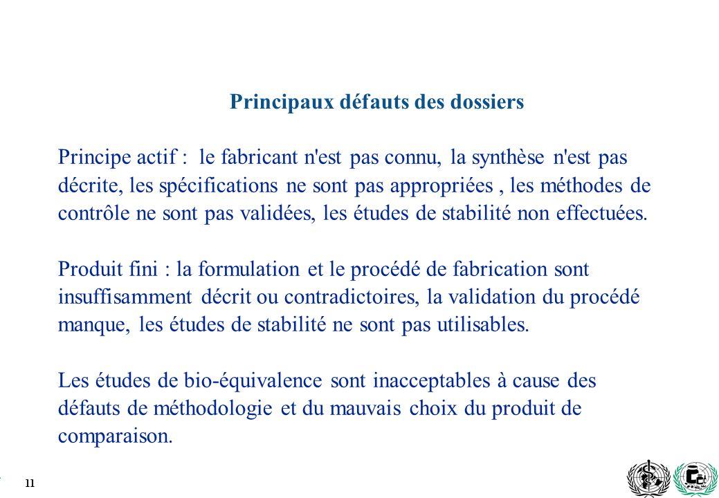11 Principaux défauts des dossiers Principe actif : le fabricant n est pas connu, la synthèse n est pas décrite, les spécifications ne sont pas appropriées, les méthodes de contrôle ne sont pas validées, les études de stabilité non effectuées.