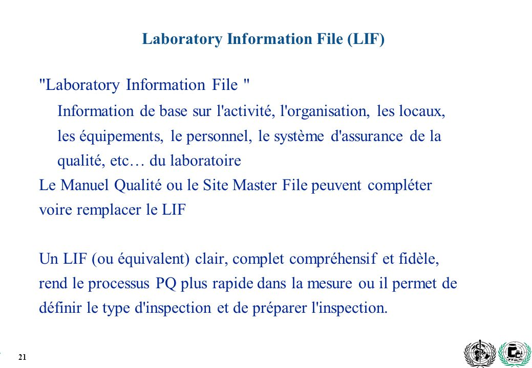 21 Laboratory Information File (LIF)