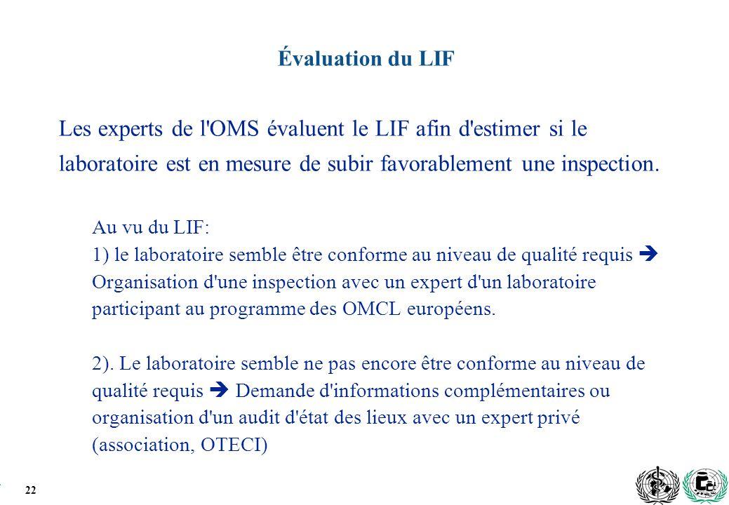 22 Évaluation du LIF Les experts de l OMS évaluent le LIF afin d estimer si le laboratoire est en mesure de subir favorablement une inspection.