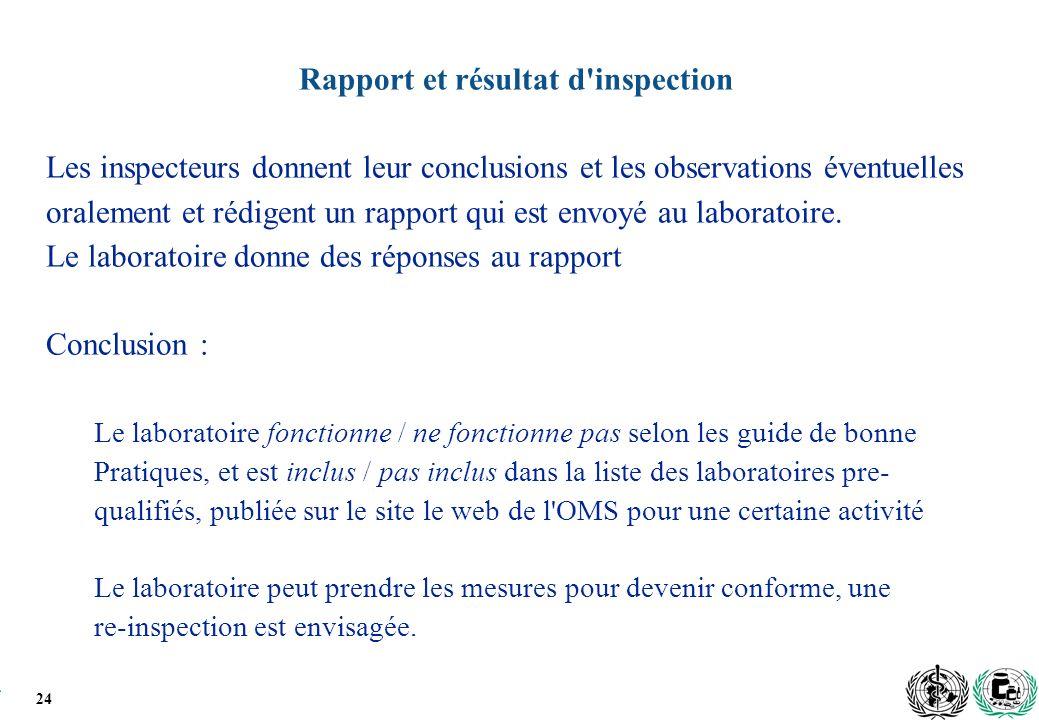 24 Rapport et résultat d inspection Les inspecteurs donnent leur conclusions et les observations éventuelles oralement et rédigent un rapport qui est envoyé au laboratoire.