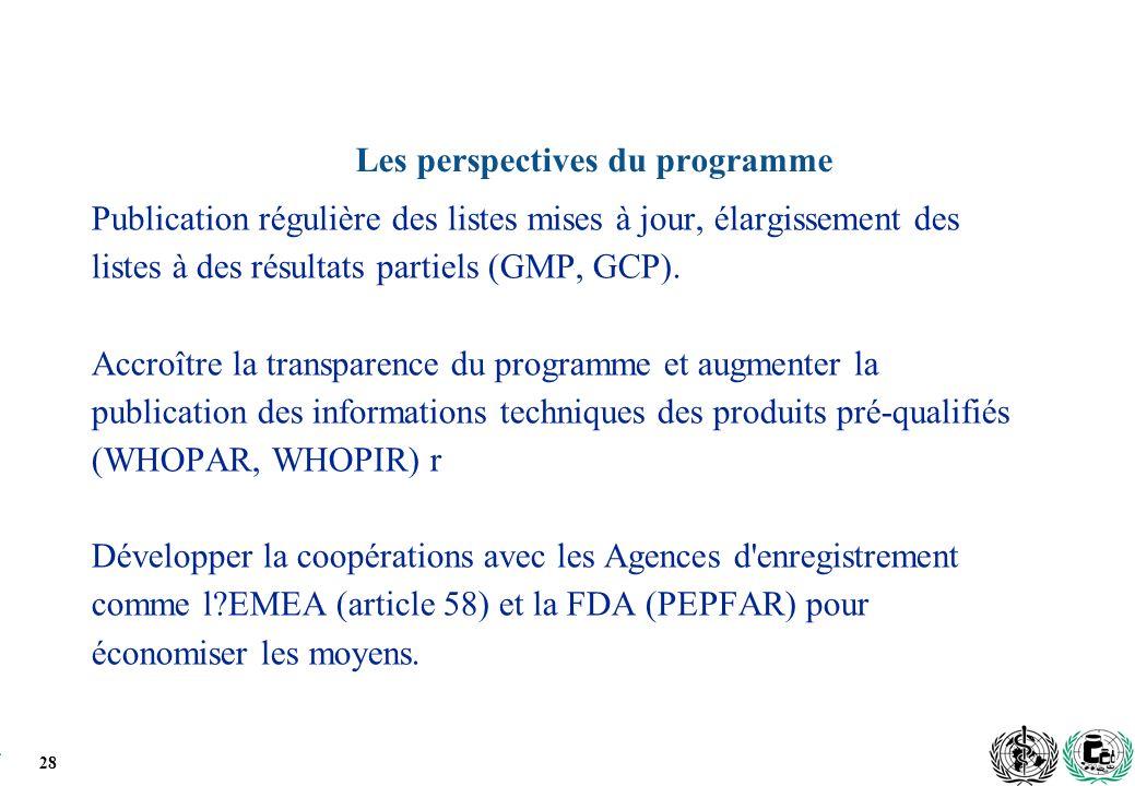 28 Les perspectives du programme Publication régulière des listes mises à jour, élargissement des listes à des résultats partiels (GMP, GCP).