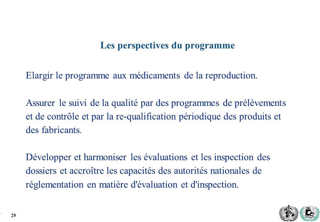 29 Les perspectives du programme Elargir le programme aux médicaments de la reproduction.