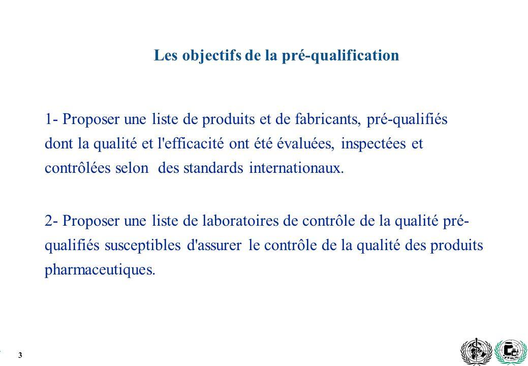 3 Les objectifs de la pré-qualification 1- Proposer une liste de produits et de fabricants, pré-qualifiés dont la qualité et l efficacité ont été évaluées, inspectées et contrôlées selon des standards internationaux.