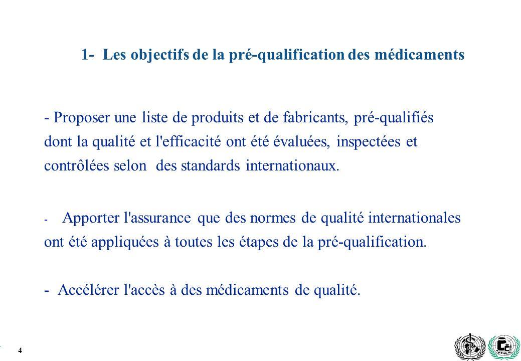 4 1- Les objectifs de la pré-qualification des médicaments - Proposer une liste de produits et de fabricants, pré-qualifiés dont la qualité et l efficacité ont été évaluées, inspectées et contrôlées selon des standards internationaux.