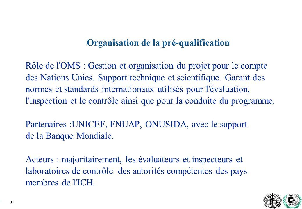 6 Organisation de la pré-qualification Rôle de l OMS : Gestion et organisation du projet pour le compte des Nations Unies.
