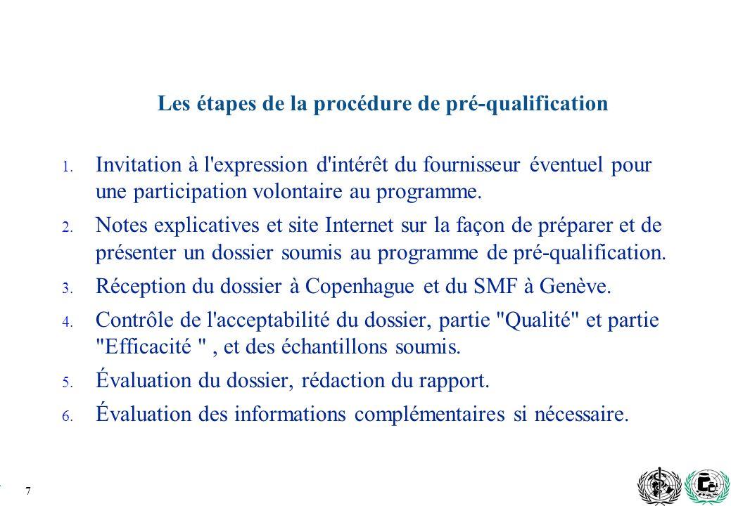 7 Les étapes de la procédure de pré-qualification 1.