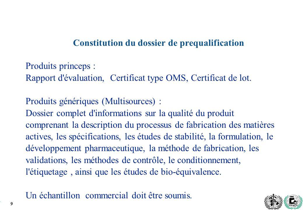 9 Constitution du dossier de prequalification Produits princeps : Rapport d évaluation, Certificat type OMS, Certificat de lot.