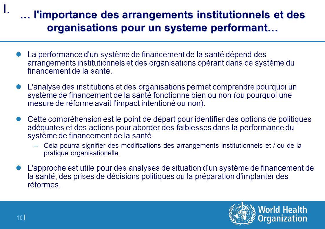 10 | … l'importance des arrangements institutionnels et des organisations pour un systeme performant… La performance d'un système de financement de la