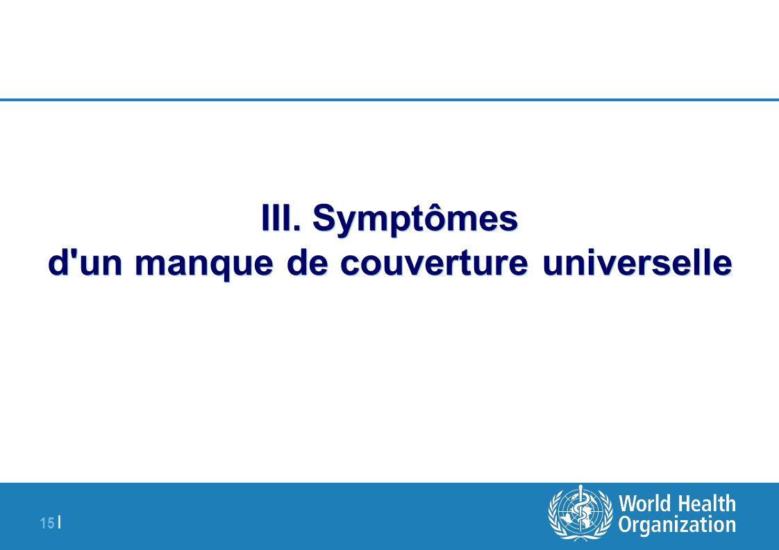 15 | III. Symptômes d'un manque de couverture universelle