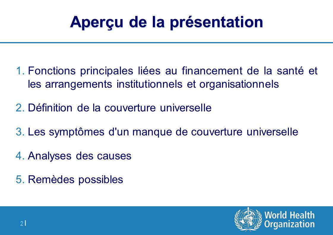 2 | Aperçu de la présentation 1.Fonctions principales liées au financement de la santé et les arrangements institutionnels et organisationnels 2.Défin