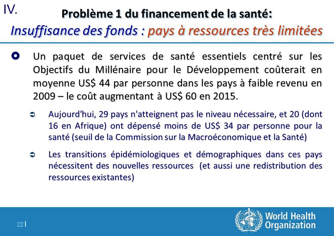 22 | Problème 1 du financement de la santé : Insuffisance des fonds : pays à ressources très limitées Un paquet de services de santé essentiels centré